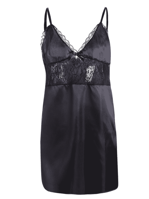 buy Cami Lace Panel Tank Top and Shorts Pajamas - BLACK 2XL Mobile
