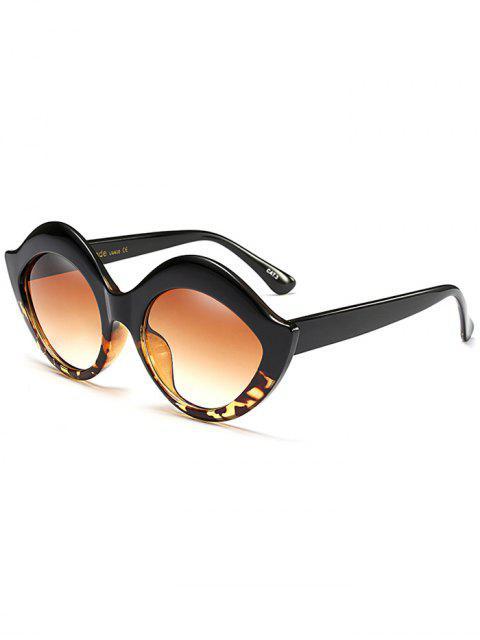 fashion Anti UV Lip Design Sunglasses - BLACK LEOPARD PRINT  Mobile