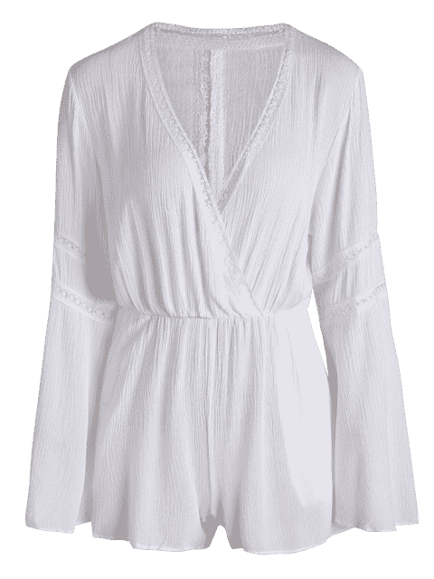 trendy White Plunging Neck Flare Sleeve Romper - WHITE XL Mobile