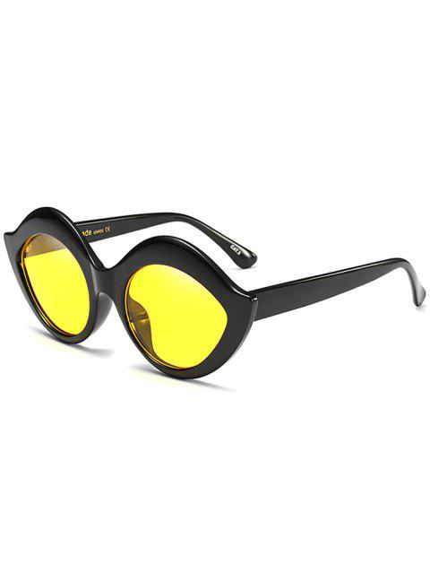 shop Anti UV Lip Design Sunglasses - YELLOW  Mobile