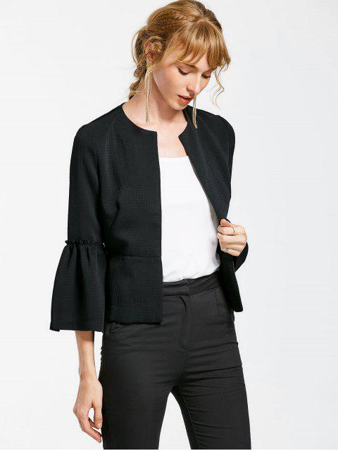 Flare Sleeve Open Front Jacket - Noir L Mobile