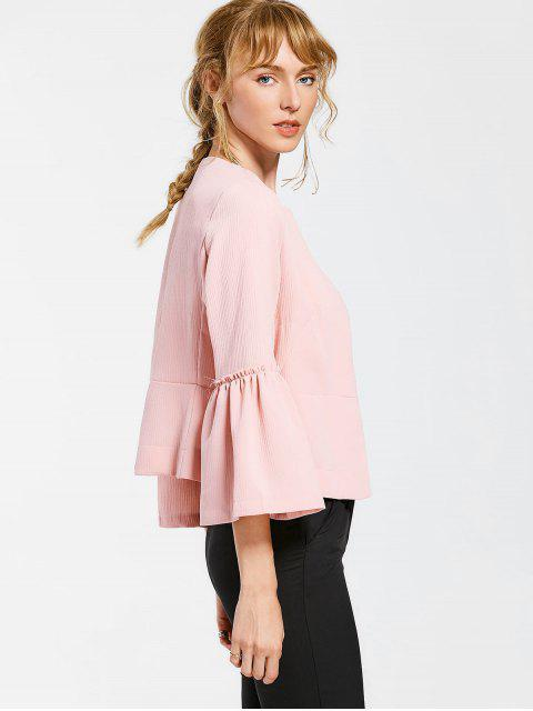 outfits Flare Sleeve Open Front Jacket - PINK M Mobile
