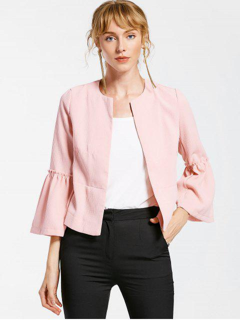 shop Flare Sleeve Open Front Jacket - PINK S Mobile
