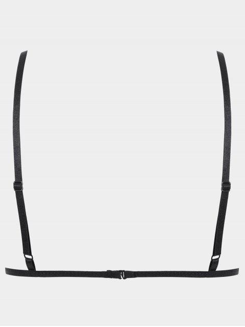 ladies Bralette Low Cut Strappy Lace Bra - BLACK L Mobile