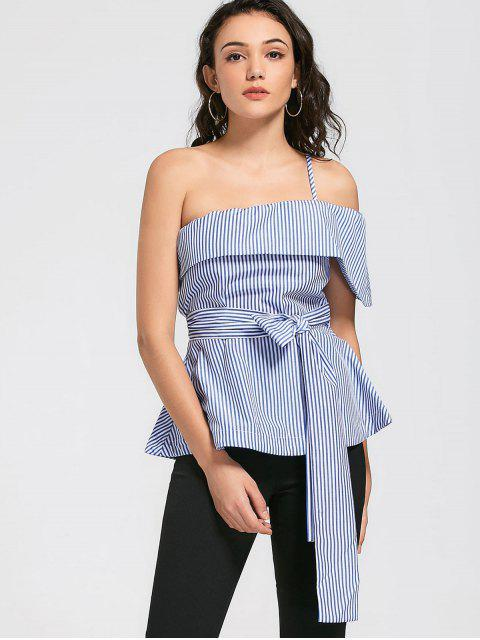women One Shoulder Self Tie Striped Blouse - BLUE 2XL Mobile