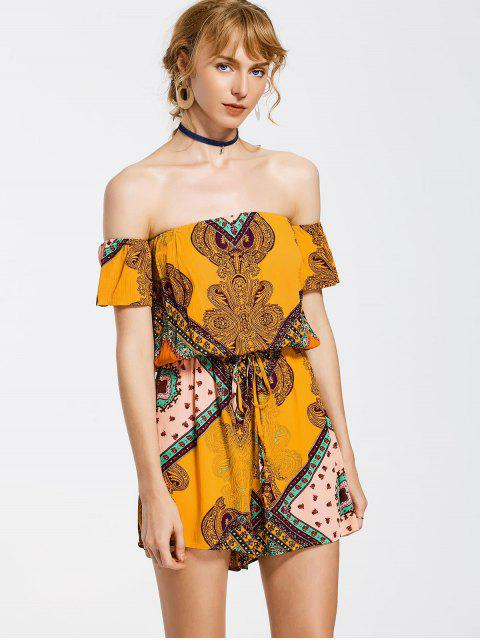 unique Short Sleeve Printed Off Shoulder Romper - MULTI L Mobile