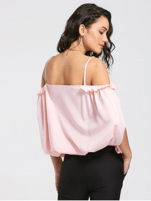 women's Slit Cold Shoulder Cami Ruffles Blouse - SHALLOW PINK XL Mobile