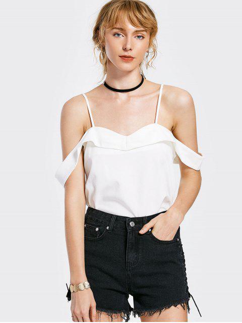 Overlay Cold Shoulder Top - Blanc L Mobile