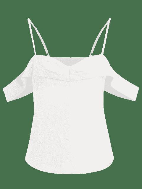 Overlay Cold Shoulder Top - Blanc S Mobile
