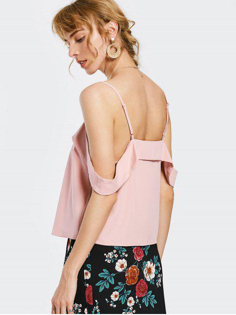 Overlay Cold Shoulder Top - ROSE PÂLE L Mobile
