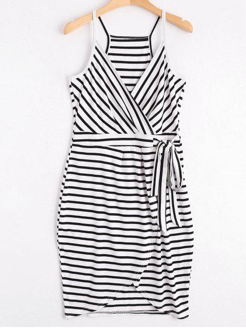 fashion Self Tie Striped Cami Dress - STRIPE M Mobile