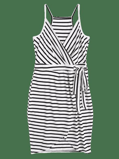 fancy Self Tie Striped Cami Dress - STRIPE XL Mobile