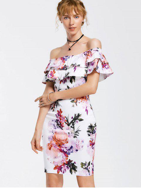 Floral Overlay Off Shoulder Bodycon Dress - Floral L Mobile