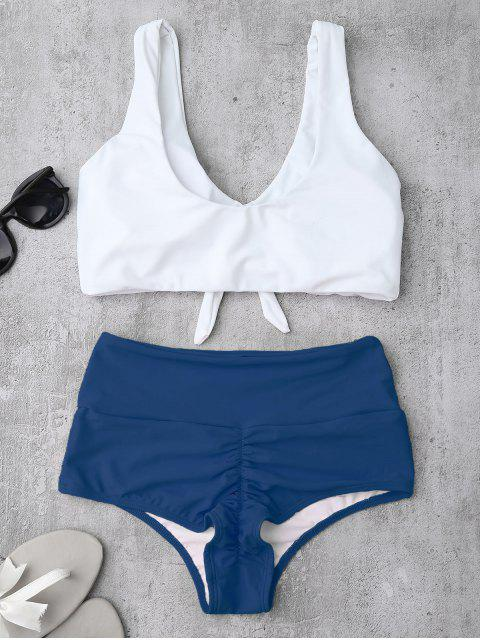 new Knotted High Waisted Ruched Bikini Set - BLUE L Mobile