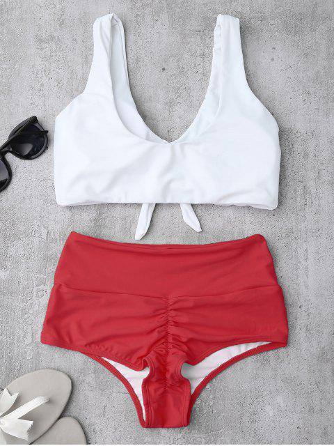 shop Knotted High Waisted Ruched Bikini Set - RED L Mobile