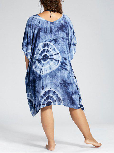 Batwing Sleeve Plus Size Cover Up Dress - Bleu Violet TAILLE MOYENNE Mobile
