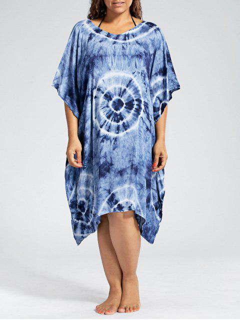 best Batwing Sleeve Plus Size Cover Up Dress - PURPLISH BLUE ONE SIZE Mobile