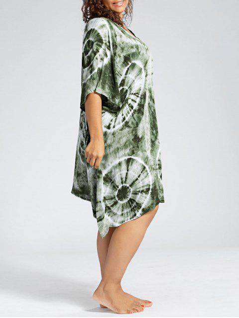 online Batwing Sleeve Plus Size Cover Up Dress - GREEN ONE SIZE Mobile