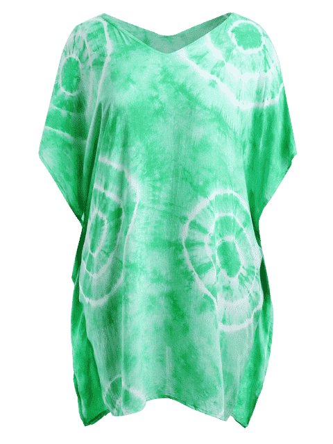 new Batwing Sleeve Plus Size Cover Up Dress - GRASS GREEN ONE SIZE Mobile