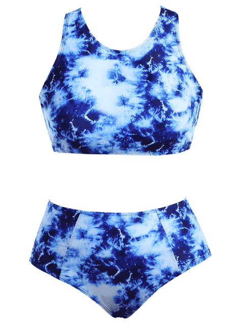 best Racerback High Waisted Plus Size Bikini Set - BLUE XL Mobile
