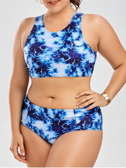 Ensemble de bikini taille haute taille ajusté Racerback - Bleu 3XL Mobile