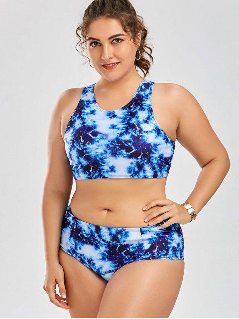 new Racerback High Waisted Plus Size Bikini Set - BLUE 3XL Mobile