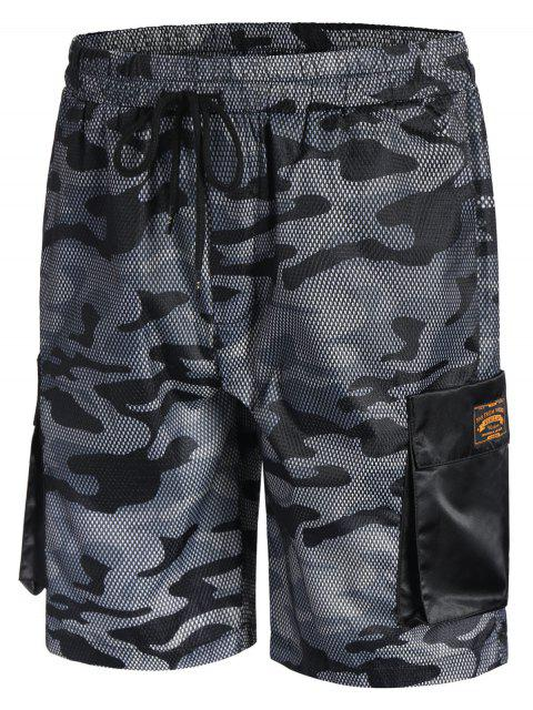 shop Camo Print Swim Cargo Board Shorts - CAMOUFLAGE GRAY 2XL Mobile