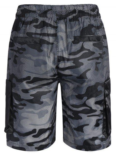 latest Camo Print Swim Cargo Board Shorts - CAMOUFLAGE GRAY L Mobile