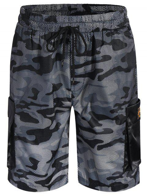 latest Camo Print Swim Cargo Board Shorts - CAMOUFLAGE GRAY L Mobile