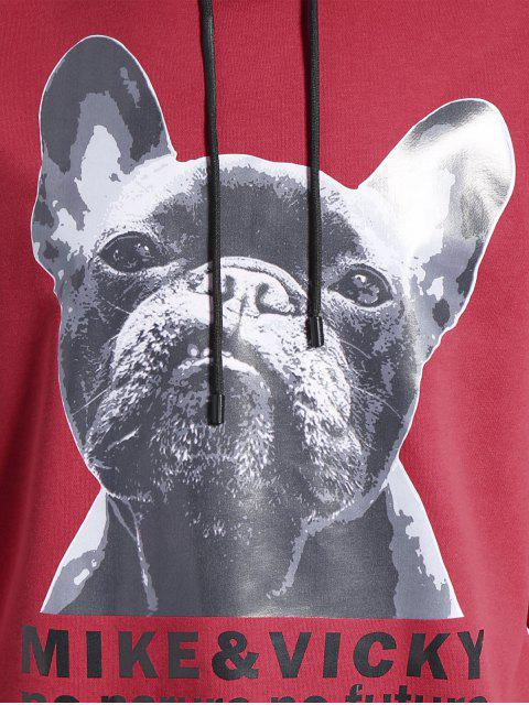fashion Puppy Graphic Mens Oversized Hoodie - WATER RED 4XL Mobile