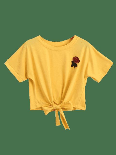 Dessin brodé floral à motifs bordés - Jaune S Mobile