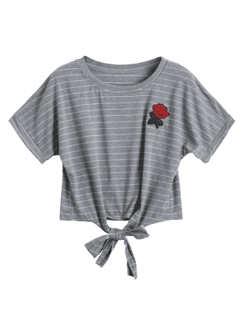 latest Bow Tied Stripes Embroidered Cropped Top - STRIPE M Mobile