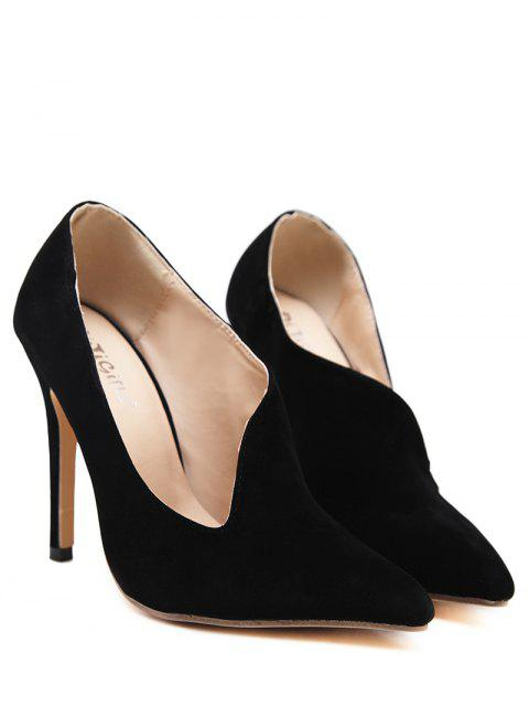 affordable Stiletto Heel Pointed Toe V Shape Pumps - BLACK 40 Mobile
