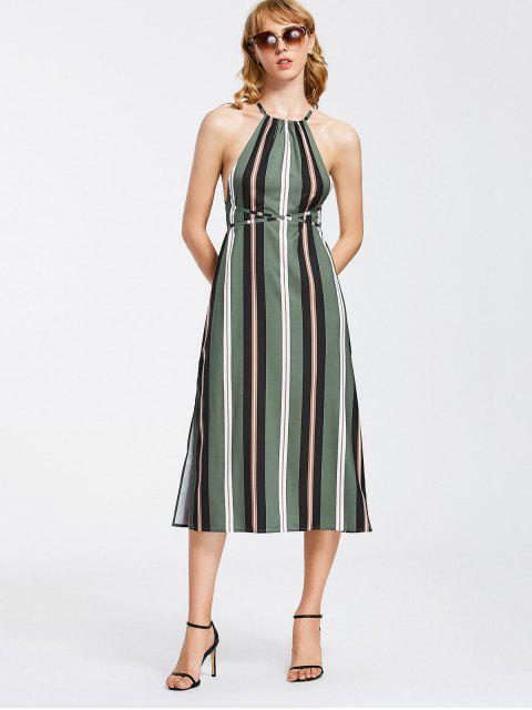 women's Strappy Stripes Backless Midi Dress - STRIPE S Mobile