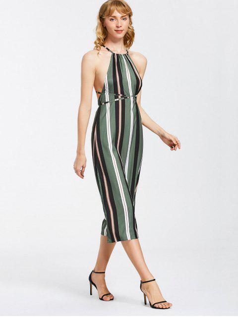 Strappy Stripes Backless Robe Midi - Rayure S Mobile