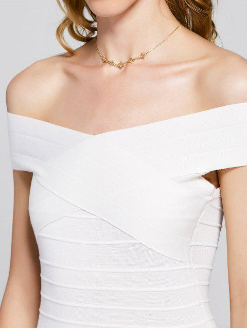new Knitted Off Shoulder Bandage Dress - WHITE ONE SIZE Mobile