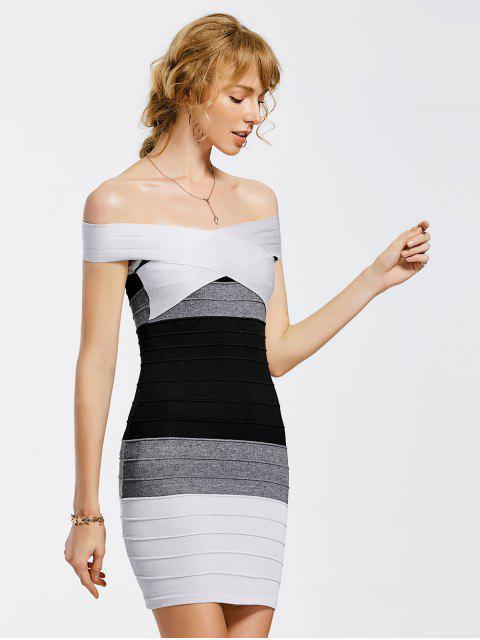 Gestricktes Schulterfreies Kontrastierendes Bodycon Kleid - Mehrfarbig Eine Größe Mobile
