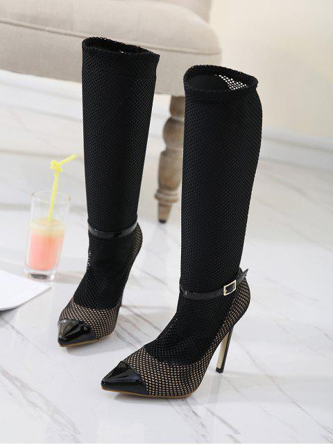 outfit Mini Heel Mesh Buckle Strap Boots - BLACK 37 Mobile