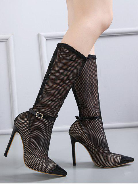 shop Mini Heel Mesh Buckle Strap Boots - BLACK 39 Mobile
