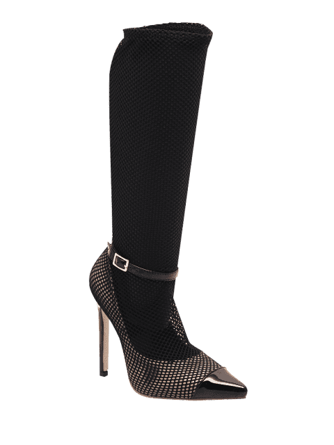 shops Mini Heel Mesh Buckle Strap Boots - BLACK 40 Mobile