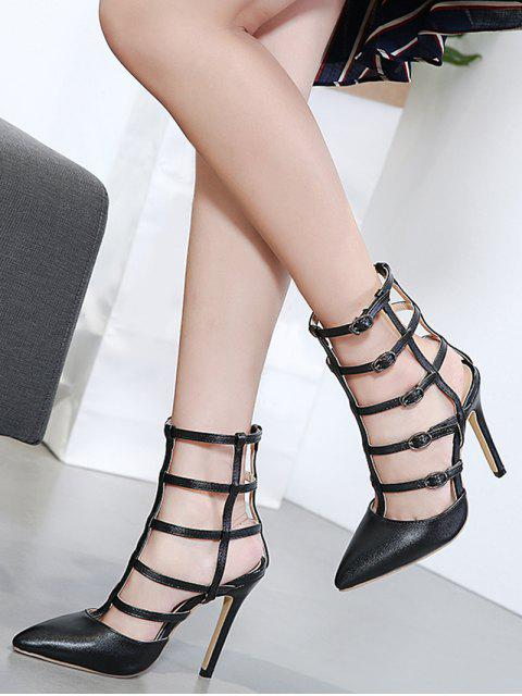 latest Pointed Toe Faux Leather Buckle Straps Pumps - BLACK 37 Mobile