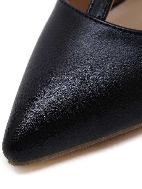 trendy Pointed Toe Faux Leather Buckle Straps Pumps - BLACK 38 Mobile