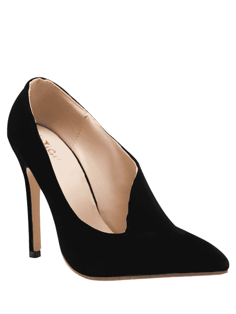 fancy Stiletto Heel Pointed Toe V Shape Pumps - BLACK 37 Mobile