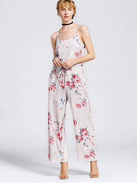 Cami Combinaison Floral avec Poches à Corde - Kaki Clair XL Mobile