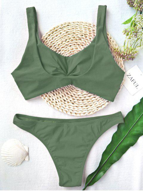 hot Knotted Scoop High Cut Bathing Suit - ARMY GREEN L Mobile