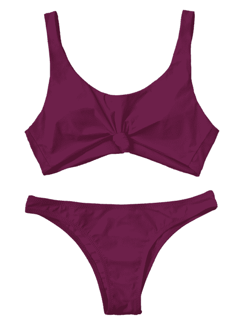 shop Knotted Scoop High Cut Bathing Suit - PURPLISH RED L Mobile