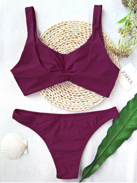 latest Knotted Scoop High Cut Bathing Suit - PURPLISH RED S Mobile