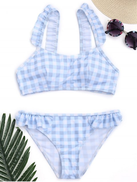 fashion Checked Ruffled Bathing Suit - BLUE AND WHITE M Mobile