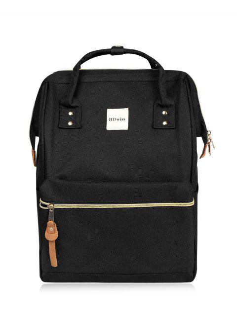 affordable Casual Canvas Top Handle Backpack - BLACK  Mobile