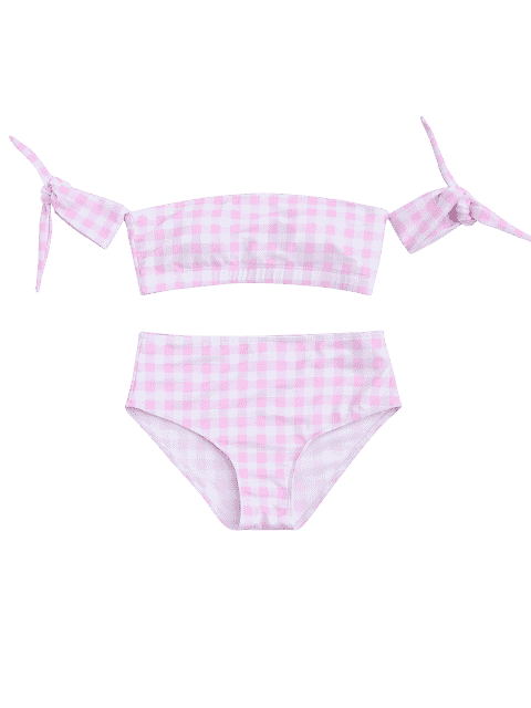 buy Off Shoulder Checked High Waisted Bikini - PINK AND WHITE M Mobile